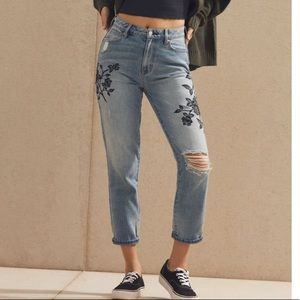 Pacsun distressed rose embroidered mom jeans